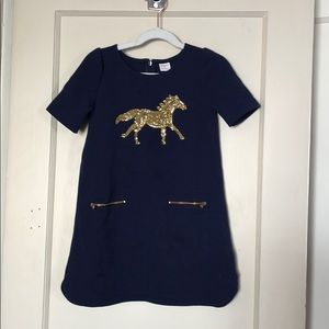 Girls gold sequin dress with horse detail